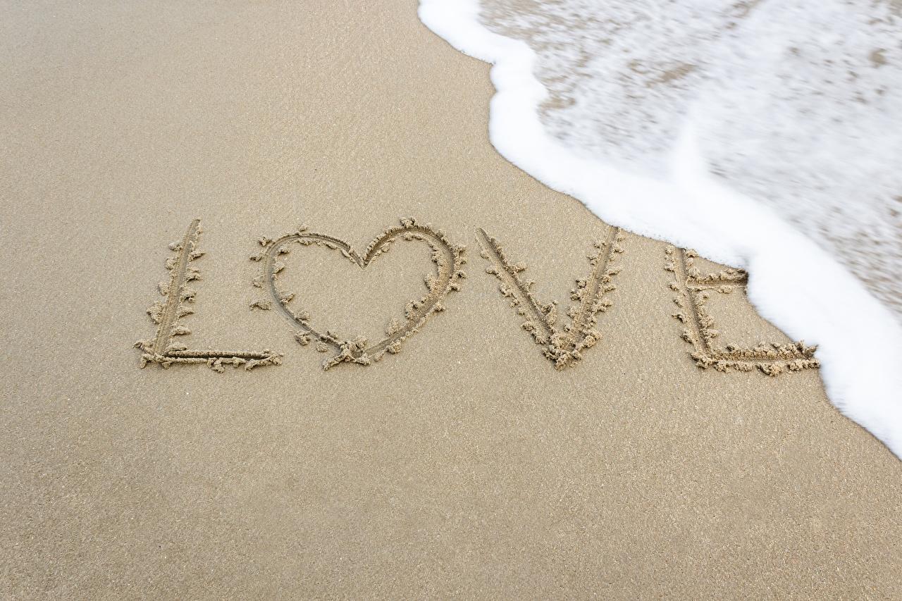 Фотография инглийские сердечко Любовь Природа Песок Слово - Надпись пене английская Английский серце Сердце сердца песка песке слова текст Пена пеной