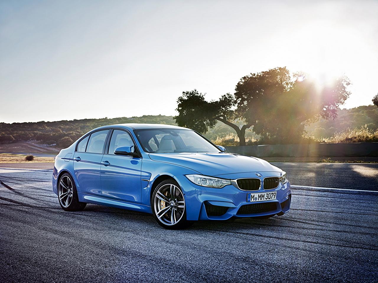 Фотография BMW 2014 M3 голубая Дороги Автомобили БМВ Голубой голубые голубых авто машины машина автомобиль
