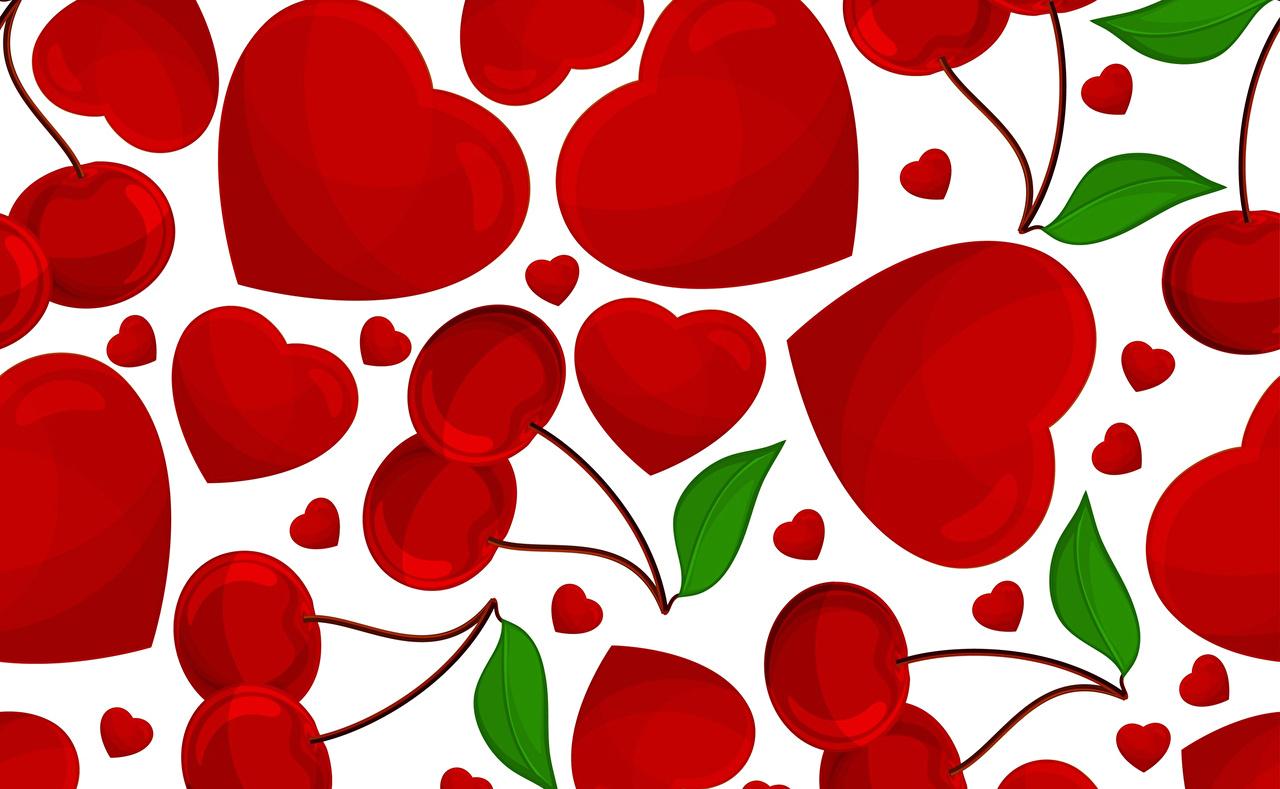 Обои для рабочего стола День всех влюблённых серце Черешня Еда Векторная графика День святого Валентина Сердце сердца сердечко Вишня Пища Продукты питания