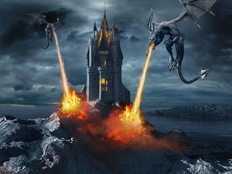 Картинки Драконы Symphonic Metal-Dark end Beautiful VI (2013) Двое Замки Музыка Огонь дракон 2 два две замок вдвоем пламя