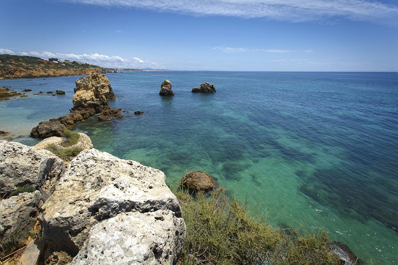 Картинка Португалия Море Природа Камни Побережье берег Камень