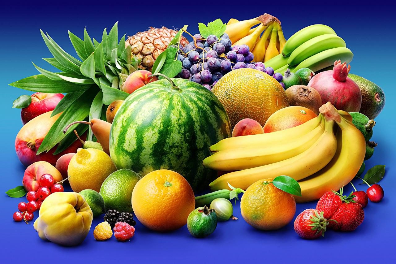 Обои Апельсин Дыни Арбузы Бананы Ананасы Клубника Виноград Еда Фрукты Пища Продукты питания