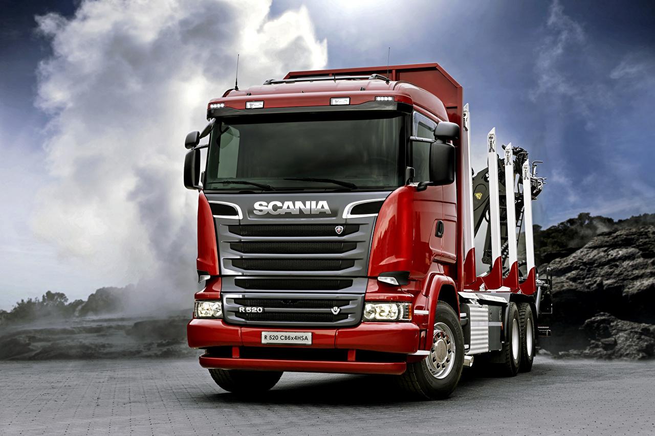 Обои Scania Грузовики R520, 2013, 6x4 Красный Спереди Автомобили Сканиа Авто Машины