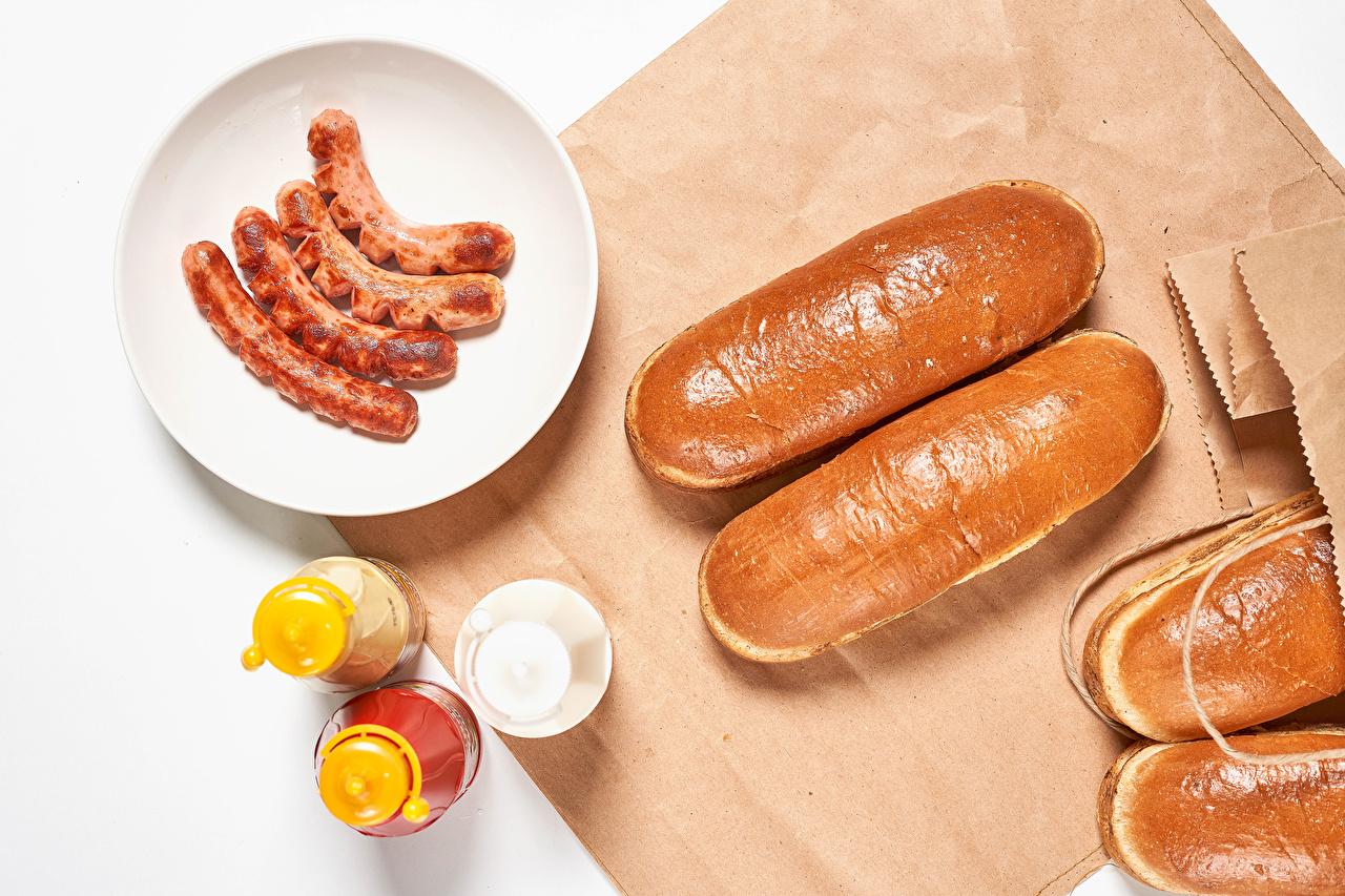 Фотография соли Сосиска Булочки Пища Тарелка Соль солью Еда тарелке Продукты питания