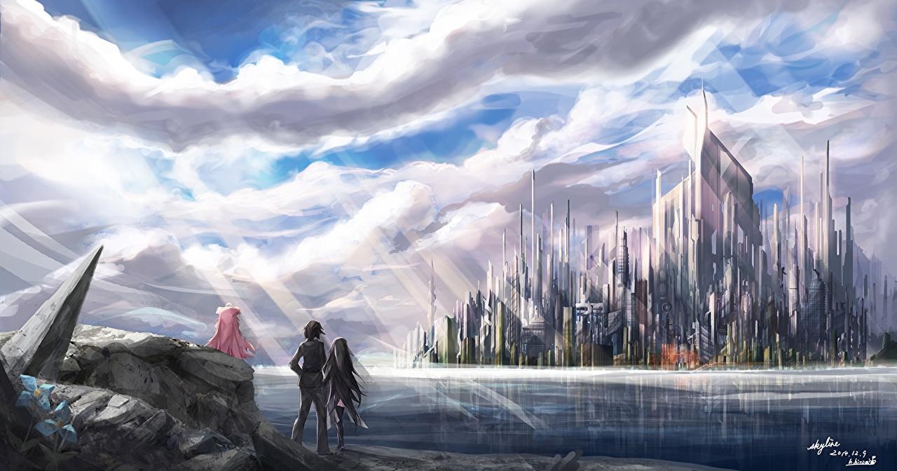Картинка riburanomind, original Аниме Фантастика Фантастический мир облачно Фэнтези Облака облако
