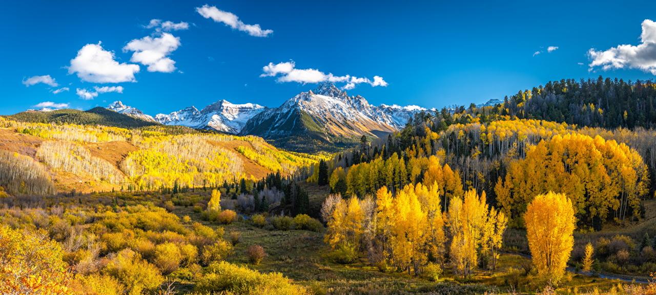 Фото США панорамная Mount Sneffels гора осенние Природа Пейзаж штаты америка Панорама Горы Осень