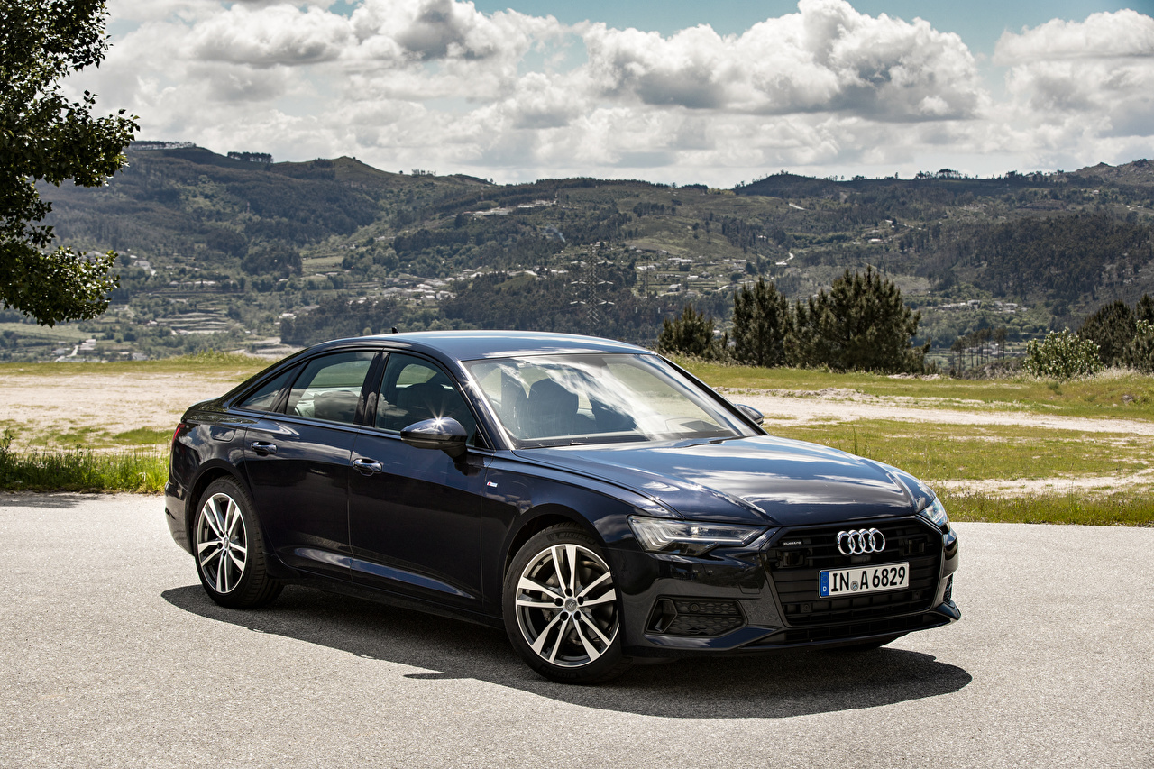Картинка Audi 2018 A6 40 TDI quattro Worldwide Синий Металлик Автомобили Ауди Авто Машины