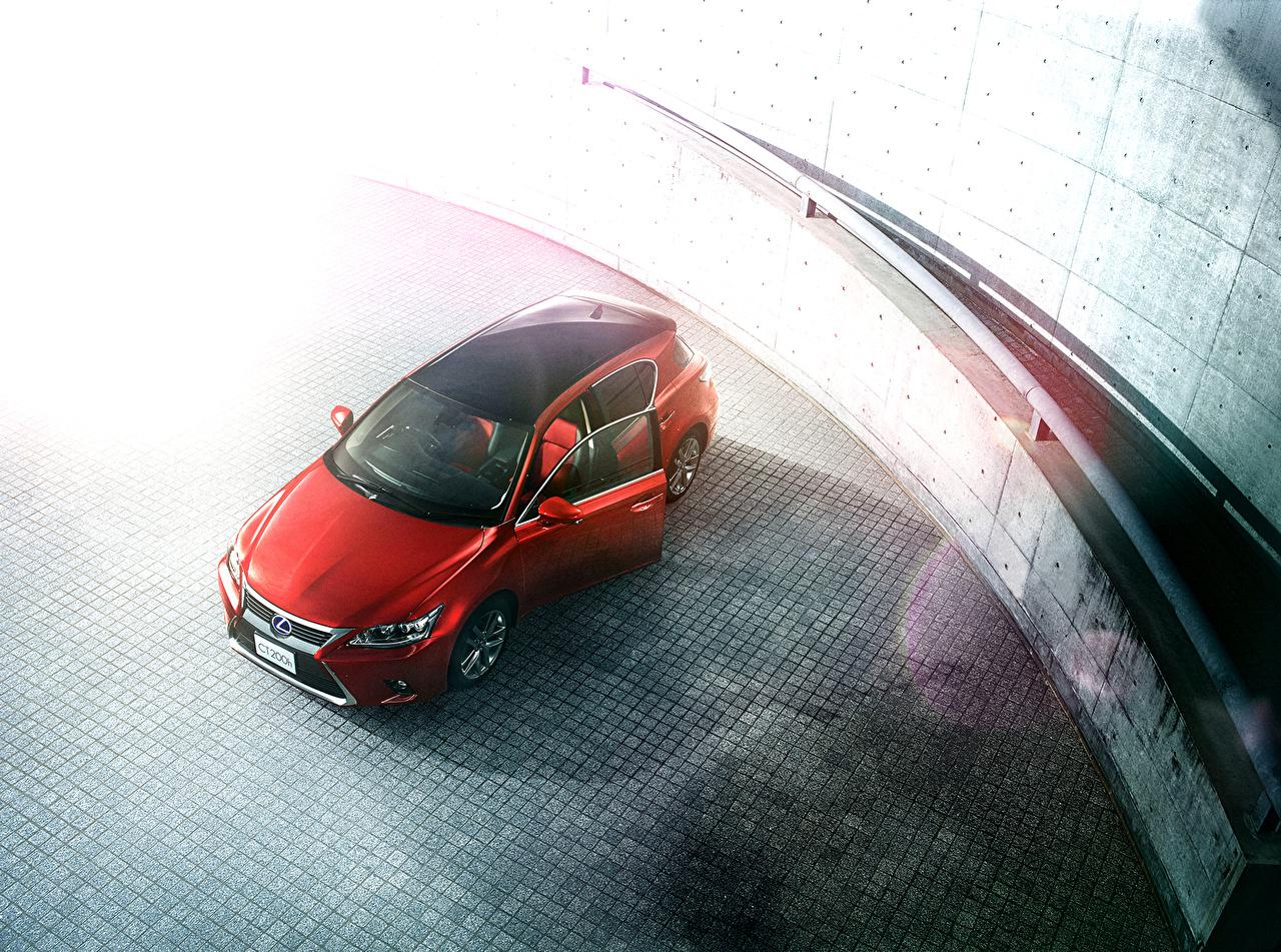 Фотографии Lexus 2016 CT 200h Cool Touring Style красные авто Сверху Лексус красных Красный красная машина машины автомобиль Автомобили