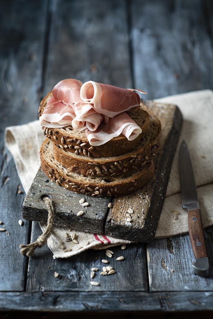Картинка ножик Хлеб Ветчина Еда Доски  для мобильного телефона Нож Пища Продукты питания