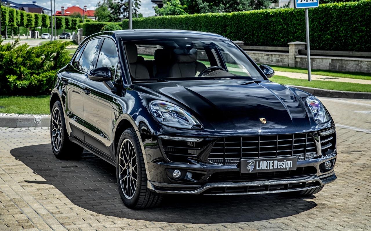 Картинка Порше Тюнинг Macan, Larte Design черные авто Спереди Металлик Porsche Стайлинг черная Черный черных машина машины Автомобили автомобиль