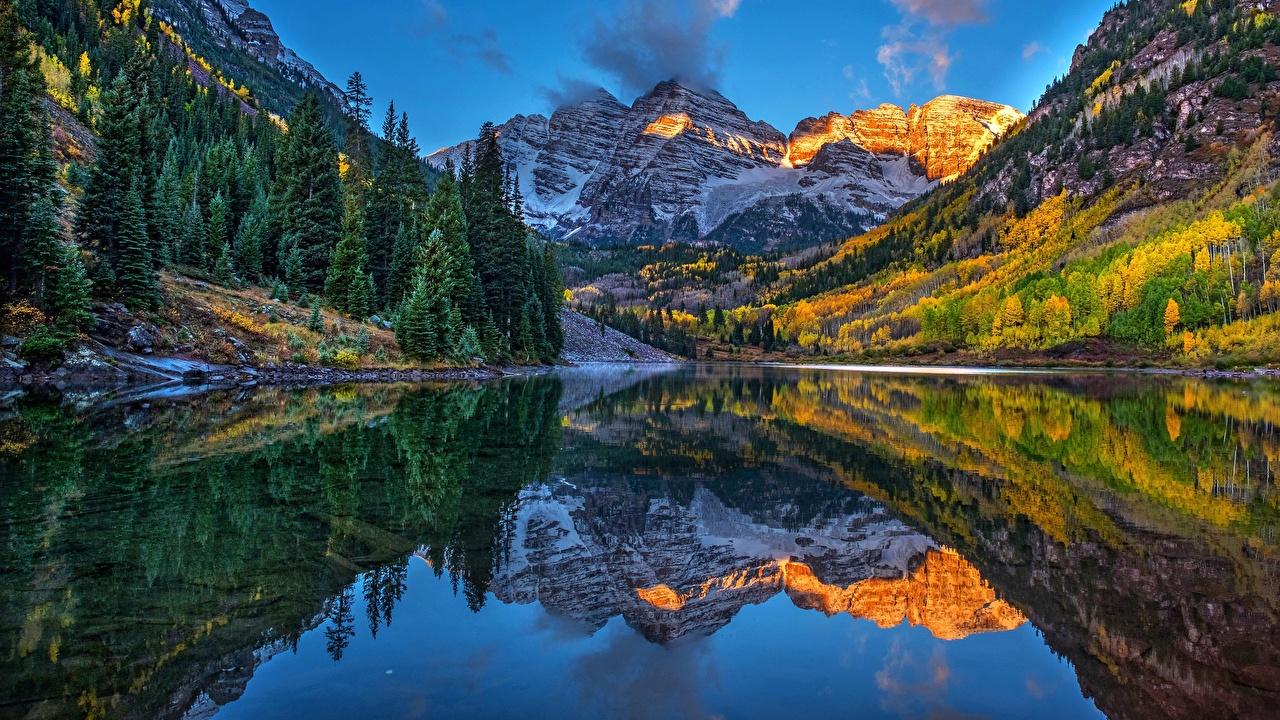 Фотография США Maroon Bells, Aspen, Colorado Горы Природа Озеро Пейзаж отражении штаты америка гора Отражение отражается