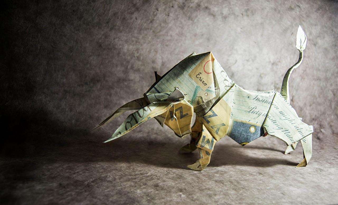 Картинка бык Оригами бумаги Быки бумаге Бумага