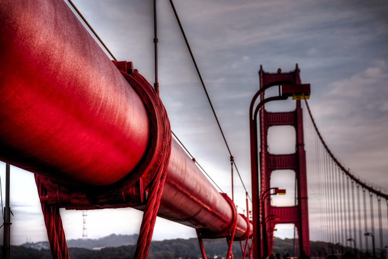 Картинки Мосты Красный Макросъёмка Города вблизи красных красные красная Макро Крупным планом