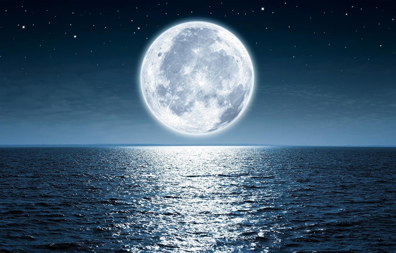 Картинки Море Природа Луна Ночь Горизонт Ночные