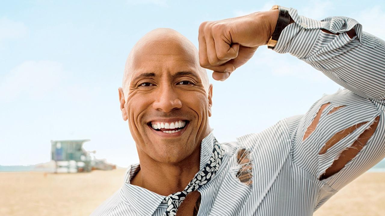 Фотография Дуэйн Джонсон мускулы мужчина Лысый Улыбка Лицо Руки Знаменитости Dwayne Johnson Мышцы Мужчины лысые без волос улыбается лица рука