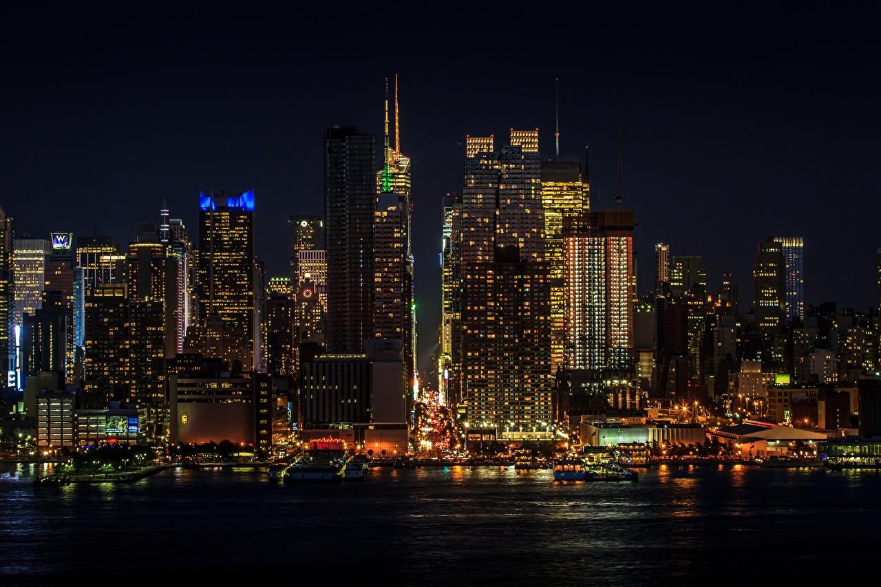 Фотографии Нью-Йорк Манхэттен США мегаполиса в ночи Небоскребы Города штаты Мегаполис Ночь ночью Ночные