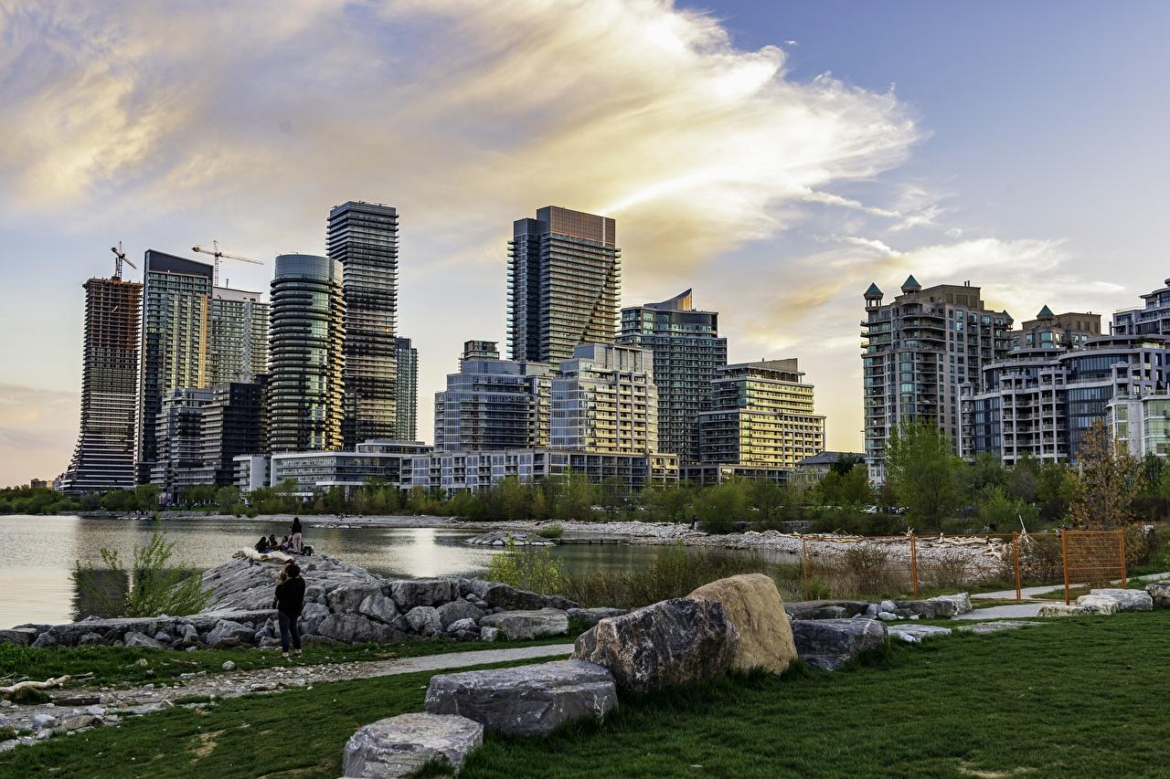 Картинка Города Канада Камни Небоскребы Торонто город Камень