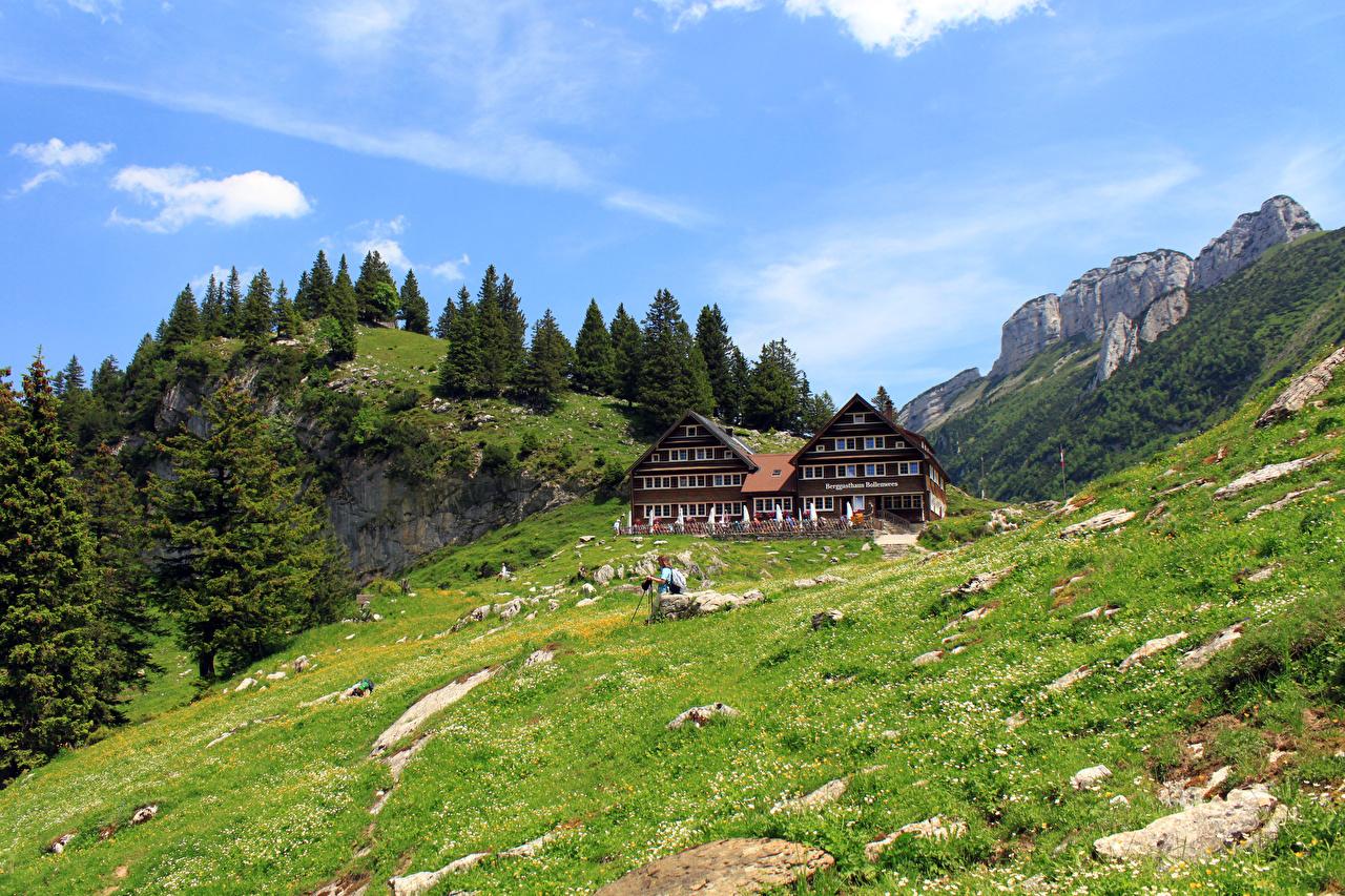Фотография Швейцария Gasthaus Bollenwees Горы Природа Луга Здания дерево гора Дома дерева Деревья деревьев