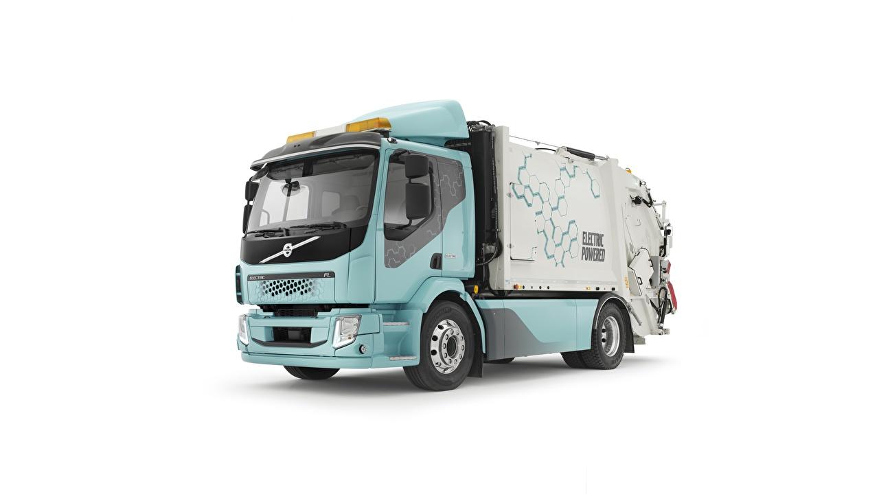 Фотографии Volvo Грузовики garbage truck, FL, Electric Автомобили Белый фон Вольво авто машины машина автомобиль белом фоне белым фоном