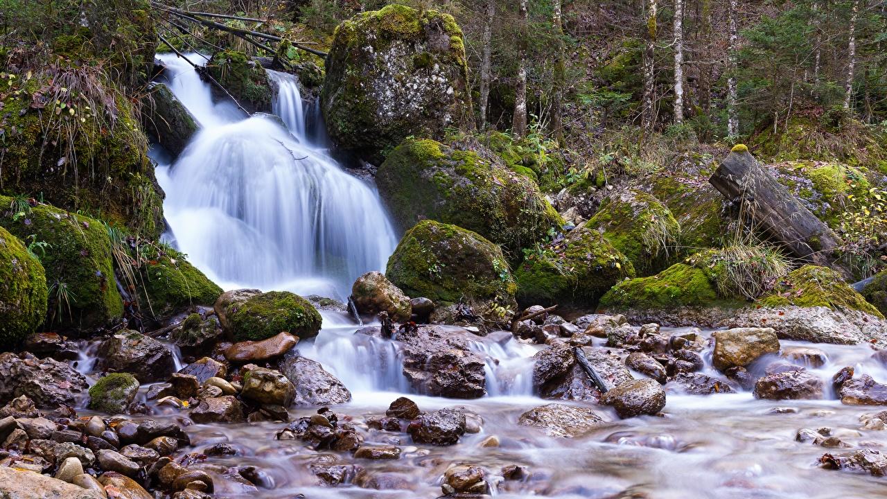 Фотографии Природа Водопады Мох Камни мха мхом Камень