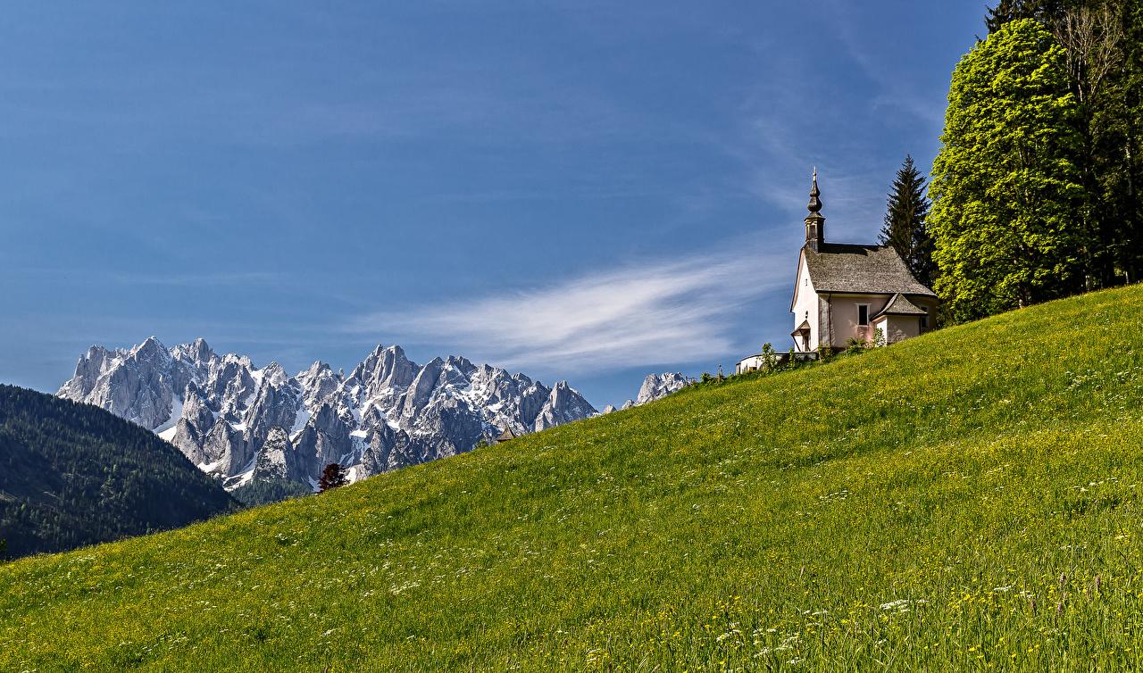 Фото Церковь альп Австрия гора Природа Луга Альпы Горы