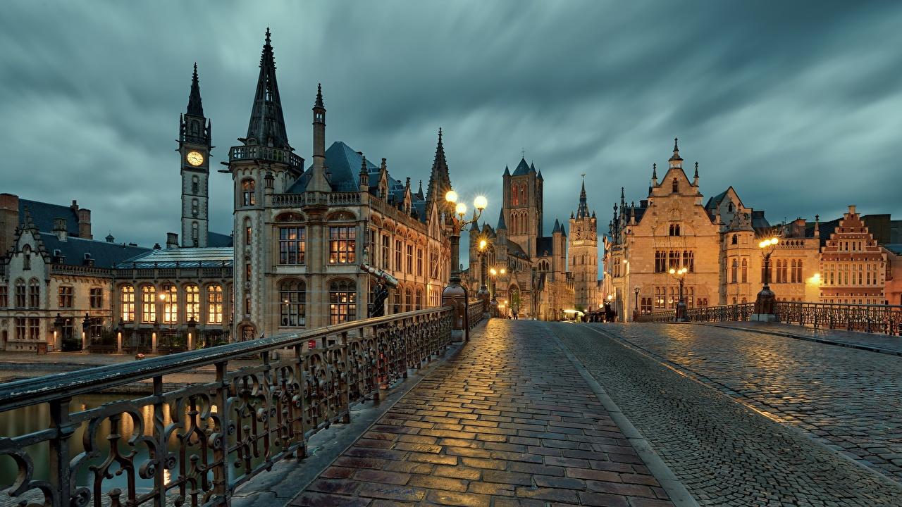 Обои для рабочего стола Гент Бельгия Мосты Вечер Города Здания мост Дома город