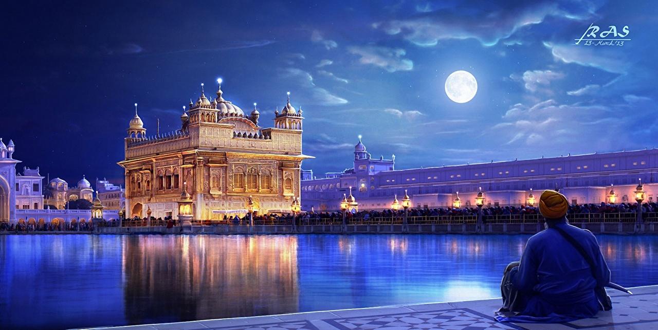 Фотографии Индия The Golden temple Punjab луны Ночь берег Живопись Дома город Луна луной ночью в ночи Ночные картина Побережье Здания Города