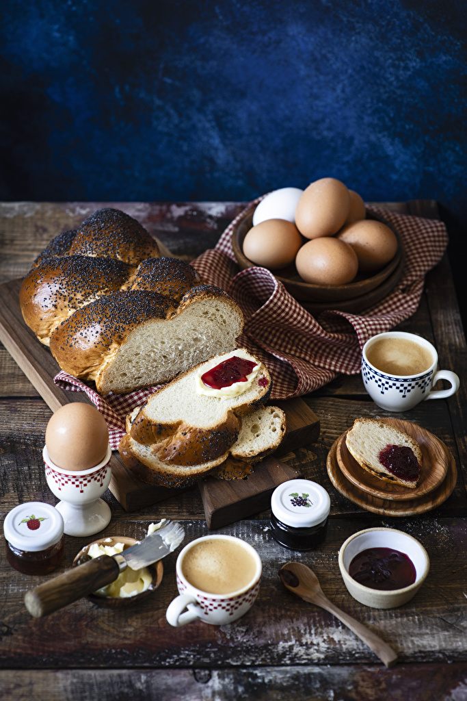 Картинка Яйца Кофе Варенье Завтрак Капучино Хлеб Еда чашке Выпечка  для мобильного телефона яиц яйцо яйцами джем Повидло Пища Чашка Продукты питания