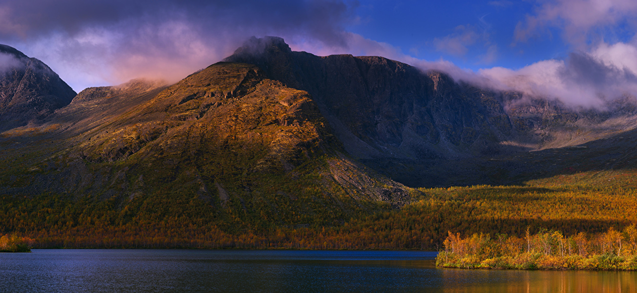 Обои для рабочего стола Россия Khibiny гора Природа осенние Реки Горы Осень река речка