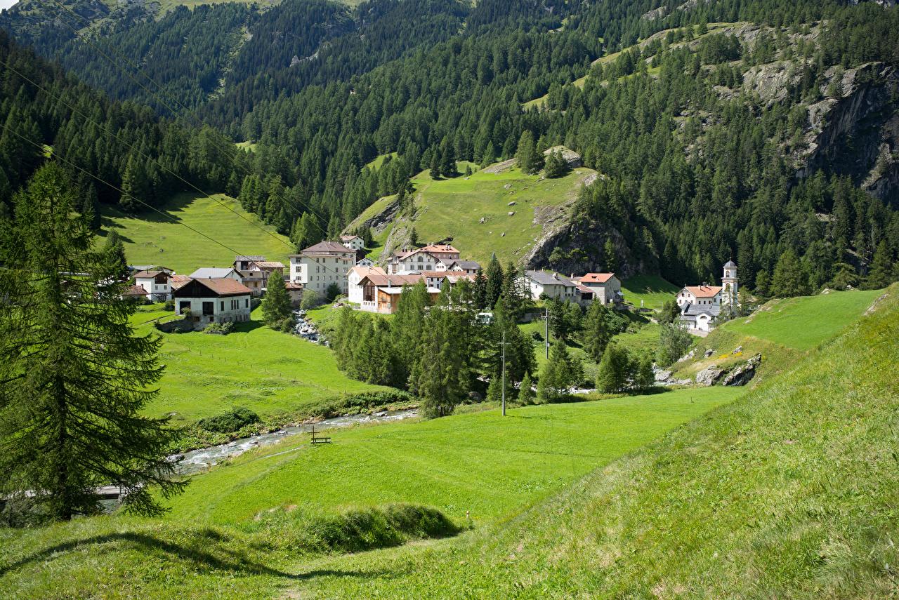 Картинки Альпы Швейцария Деревня Mulegns Горы ручеек Природа Здания альп село поселок гора Ручей Дома