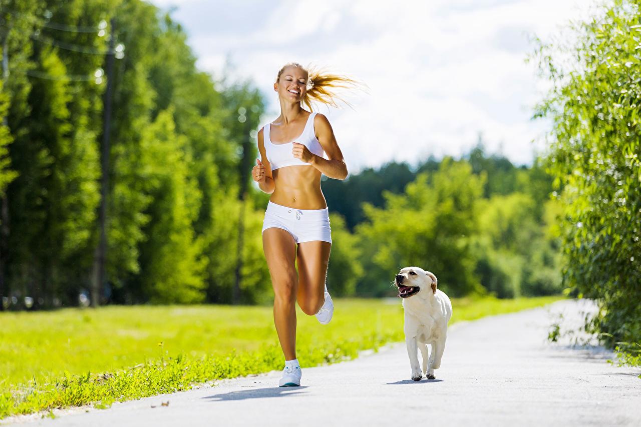 Обои для рабочего стола Собаки бежит улыбается Тропа Девушки собака Бег Улыбка бегущая бегущий тропы девушка тропинка молодая женщина молодые женщины