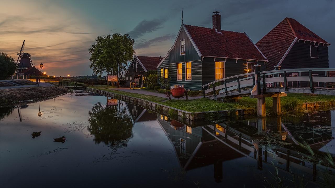 Фотография Нидерланды Zaanse Schans, Zaandam Вечер Здания Города голландия Дома город