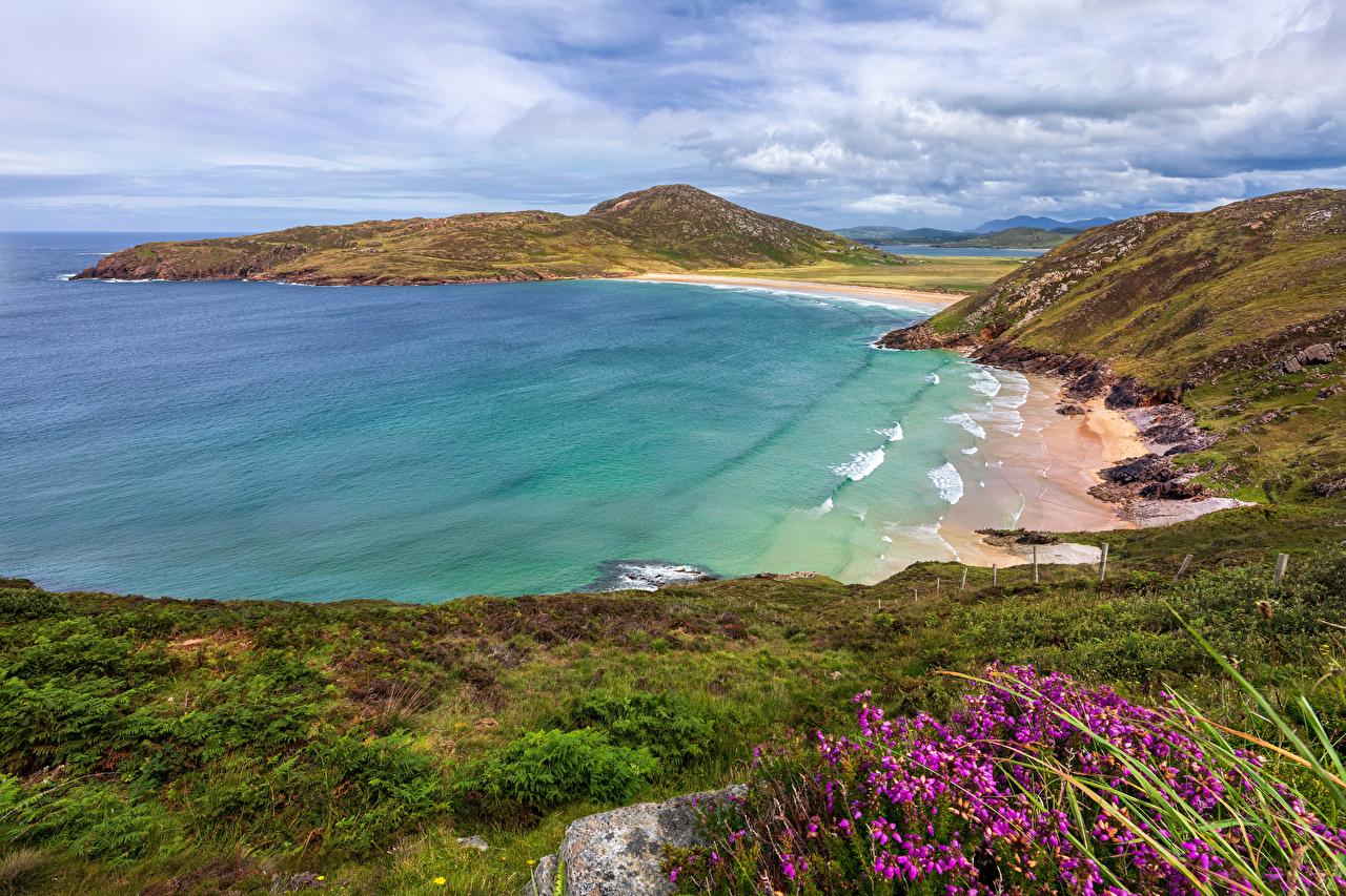 Картинка Ирландия Donegal Природа холм Бухта Побережье Облака Холмы холмов берег бухты облако облачно