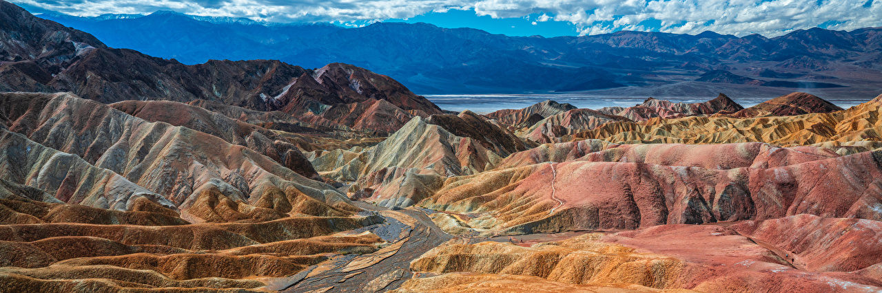 Фото штаты Панорама Death Valley National Park гора Природа Парки США америка панорамная Горы парк