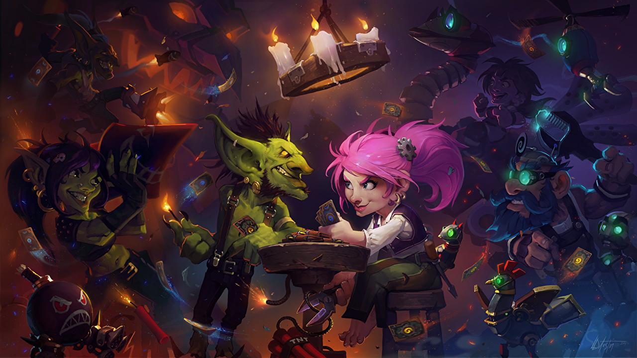 Картинки Фэнтези Hearthstone: Heroes of Warcraft Гномы Goblins vs Gnomes Игры Гоблины Свечи Фантастика компьютерная игра