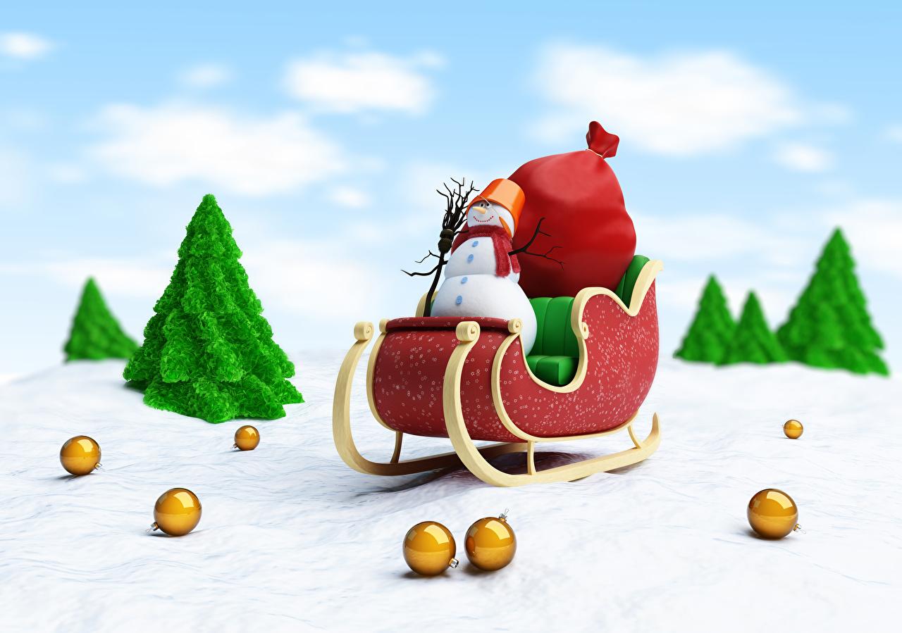 Обои Шарф Сани 3D Графика Снеговики Шарики Санки Шар