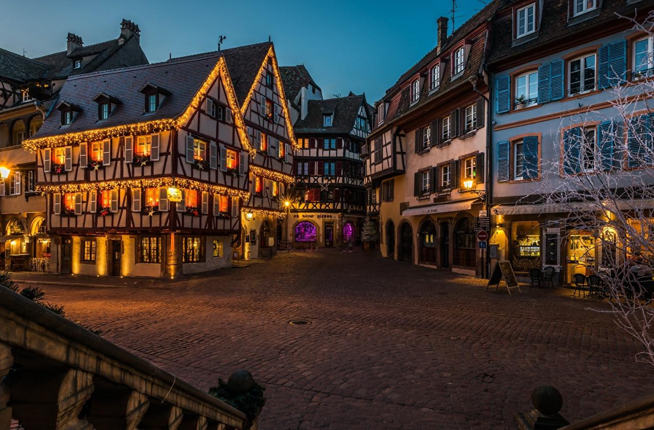 Фотография Франция Улица Вечер Уличные фонари Дома Города улиц улице город Здания