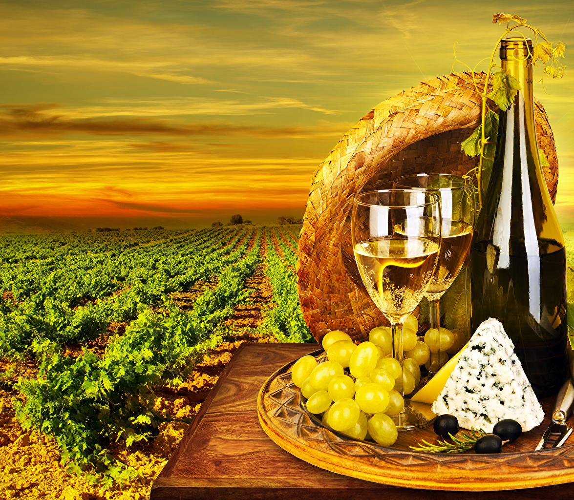 Картинка Вино Оливки Поля Сыры Виноград Еда Бокалы Бутылка Пища Продукты питания