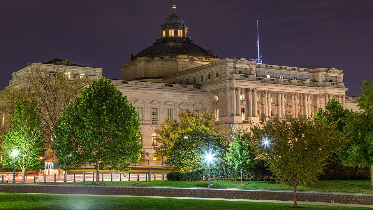 Фотография Вашингтон штаты Thomas Jefferson Building Вечер город Здания Деревья США америка Дома дерево дерева Города деревьев