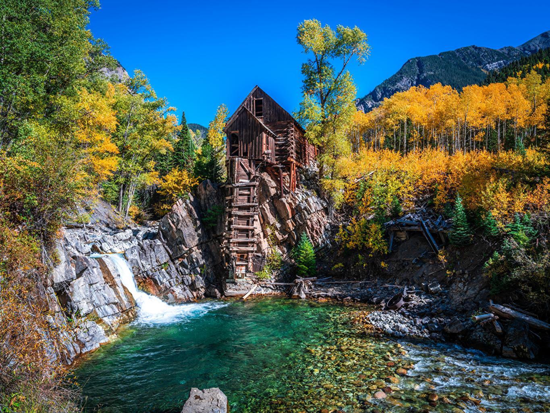 Картинка америка Водяная мельница Crystal Mill, Colorado Горы Осень Природа дерева США штаты гора осенние дерево Деревья деревьев