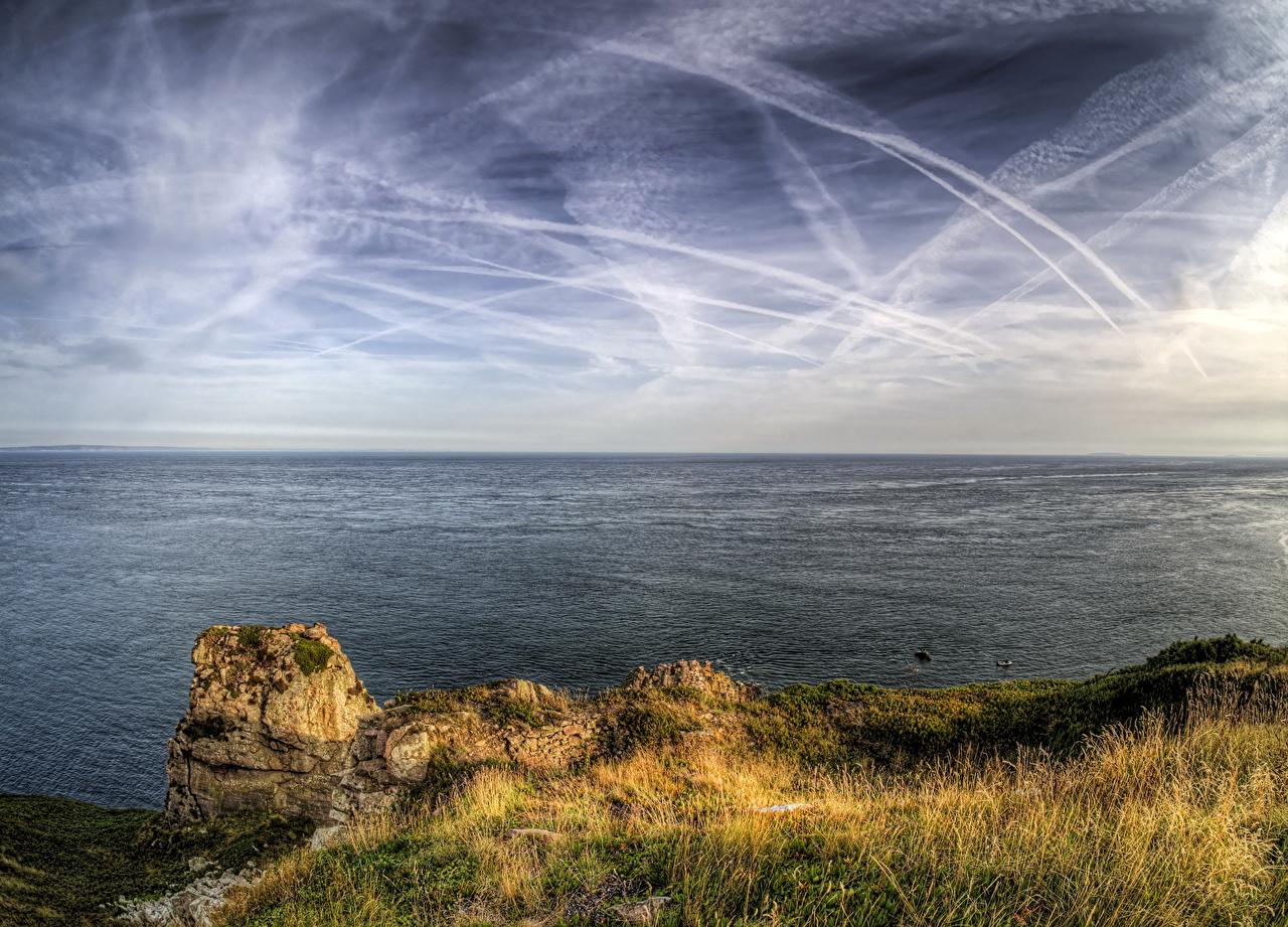 Фото Франция Alderney Channel Islands Море Природа Небо Пейзаж берег горизонта Горизонт Побережье