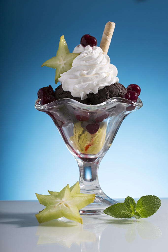 Фотография Листья Мороженое Вишня Пища Сладости  для мобильного телефона лист Листва Черешня Еда Продукты питания сладкая еда