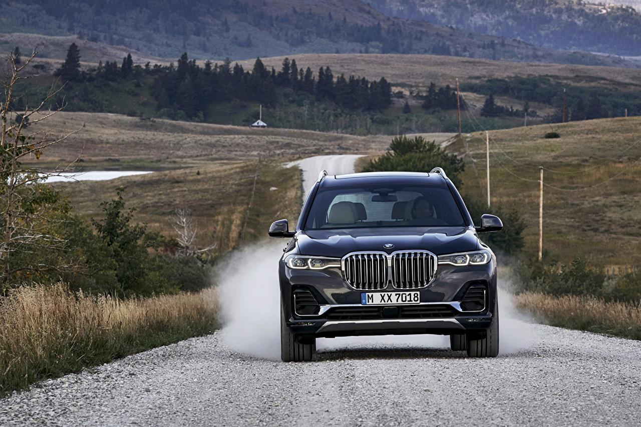 Картинки BMW CUV 2019 X7 G07 Синий Спереди Автомобили БМВ Кроссовер синяя синие синих авто машины машина автомобиль