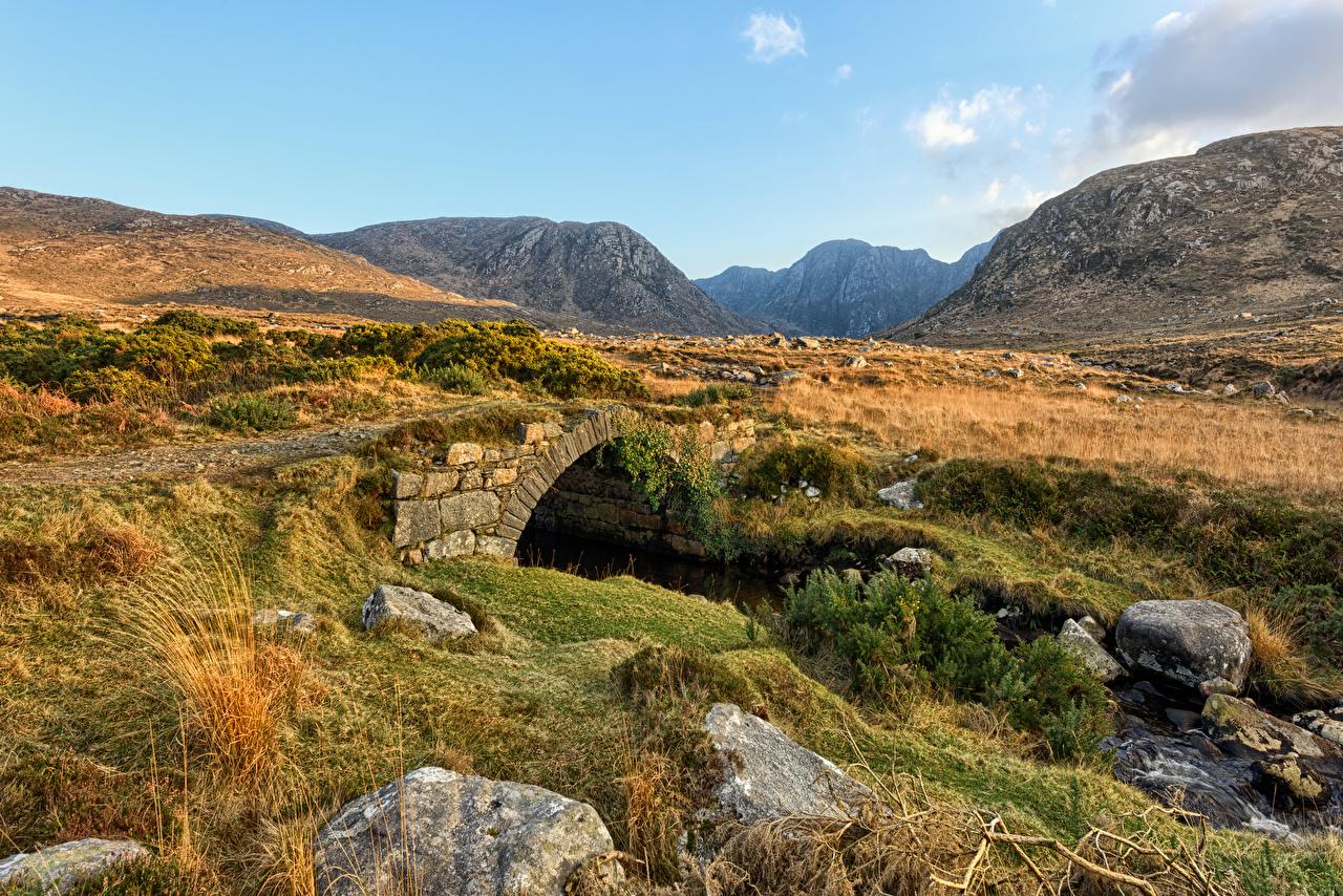 Фото Ирландия Dunlewey, Donegal Горы мост Природа Камень Каменные гора Мосты Камни из камня