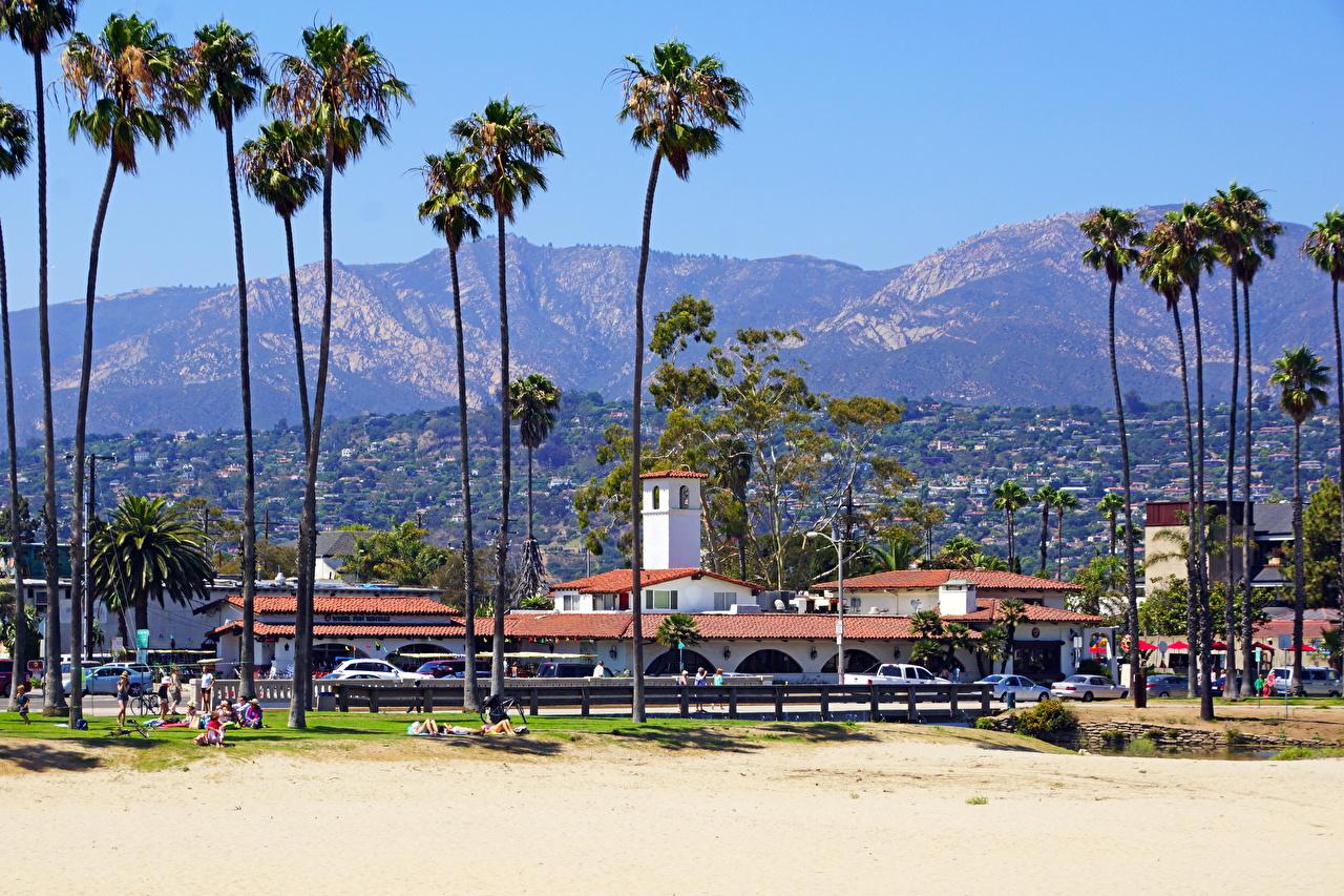 Фотографии Калифорния штаты Santa Barbara пляжи Пальмы Города калифорнии США америка Пляж пляжа пляже пальм пальма город