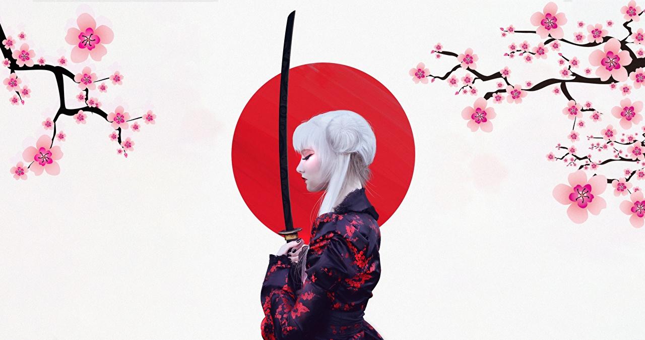 Картинка с саблей блондинки японский Катана by Abrar Khan Кимоно Девушки Сабли Блондинка блондинок Японские японская девушка молодая женщина молодые женщины