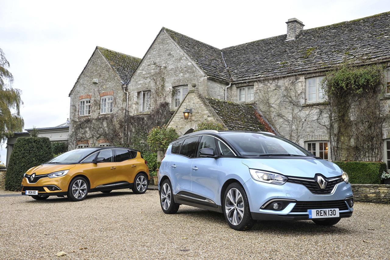Картинки Renault 2016 Scenic Двое авто Рено 2 два две вдвоем машина машины автомобиль Автомобили