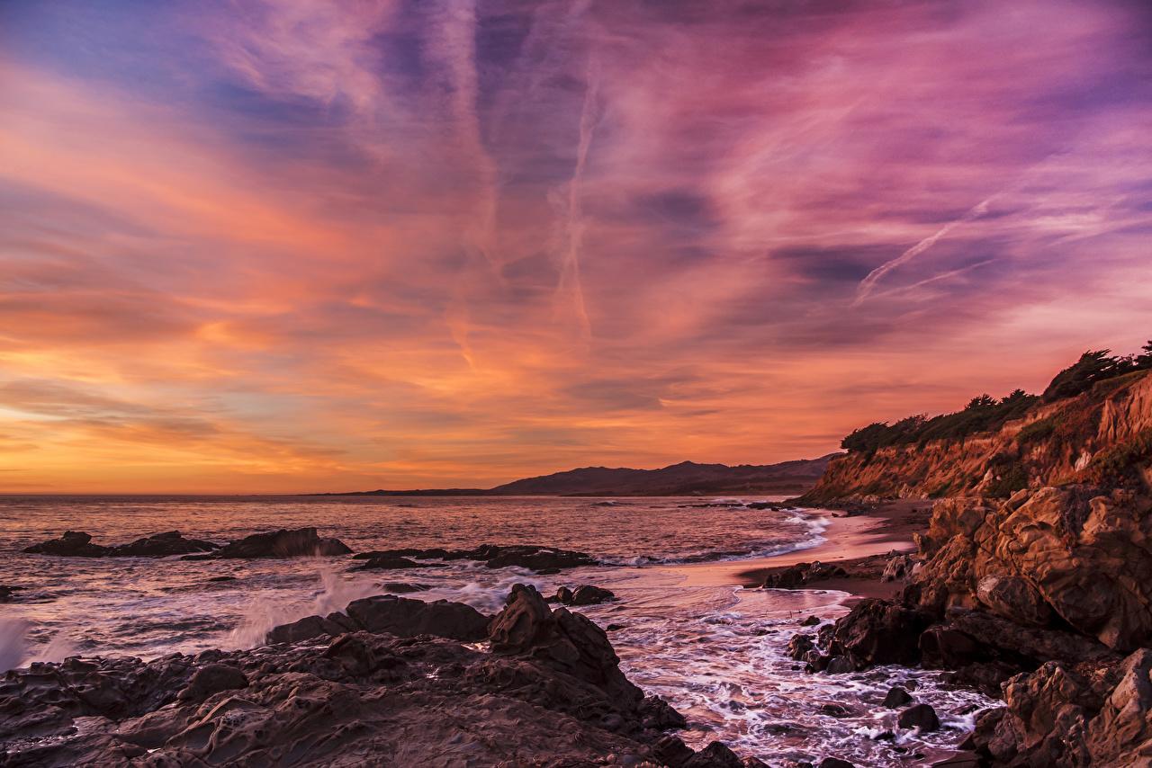 Обои для рабочего стола штаты Minnesota Природа Небо Волны рассвет и закат берег США америка Рассветы и закаты Побережье