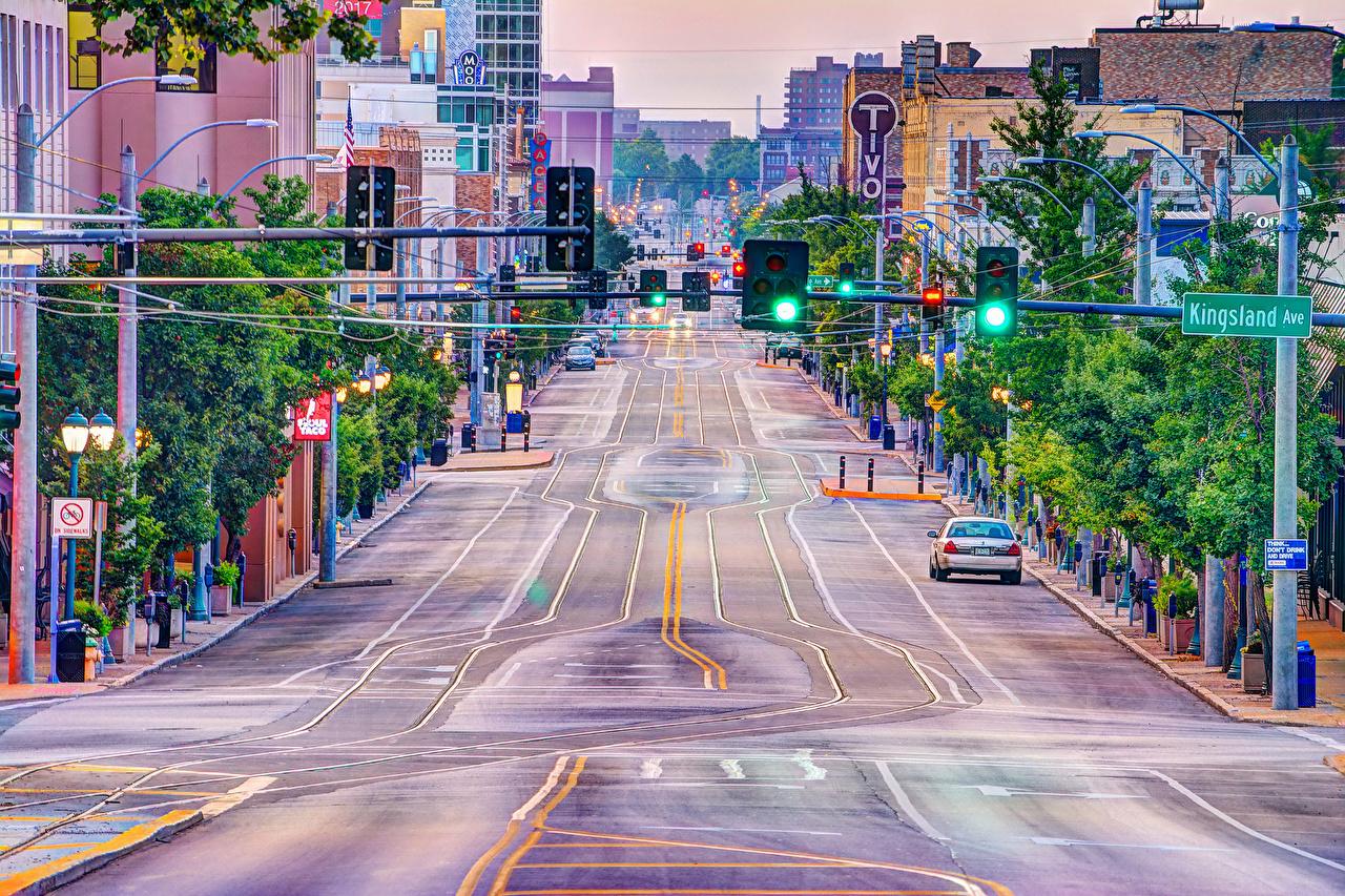 Обои для рабочего стола США University Heights Missouri улиц Дороги город Здания штаты америка Улица улице Дома Города