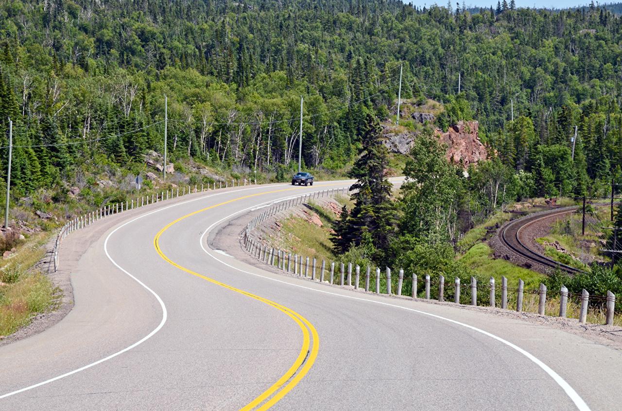 Картинки Канада Природа Леса Дороги лес